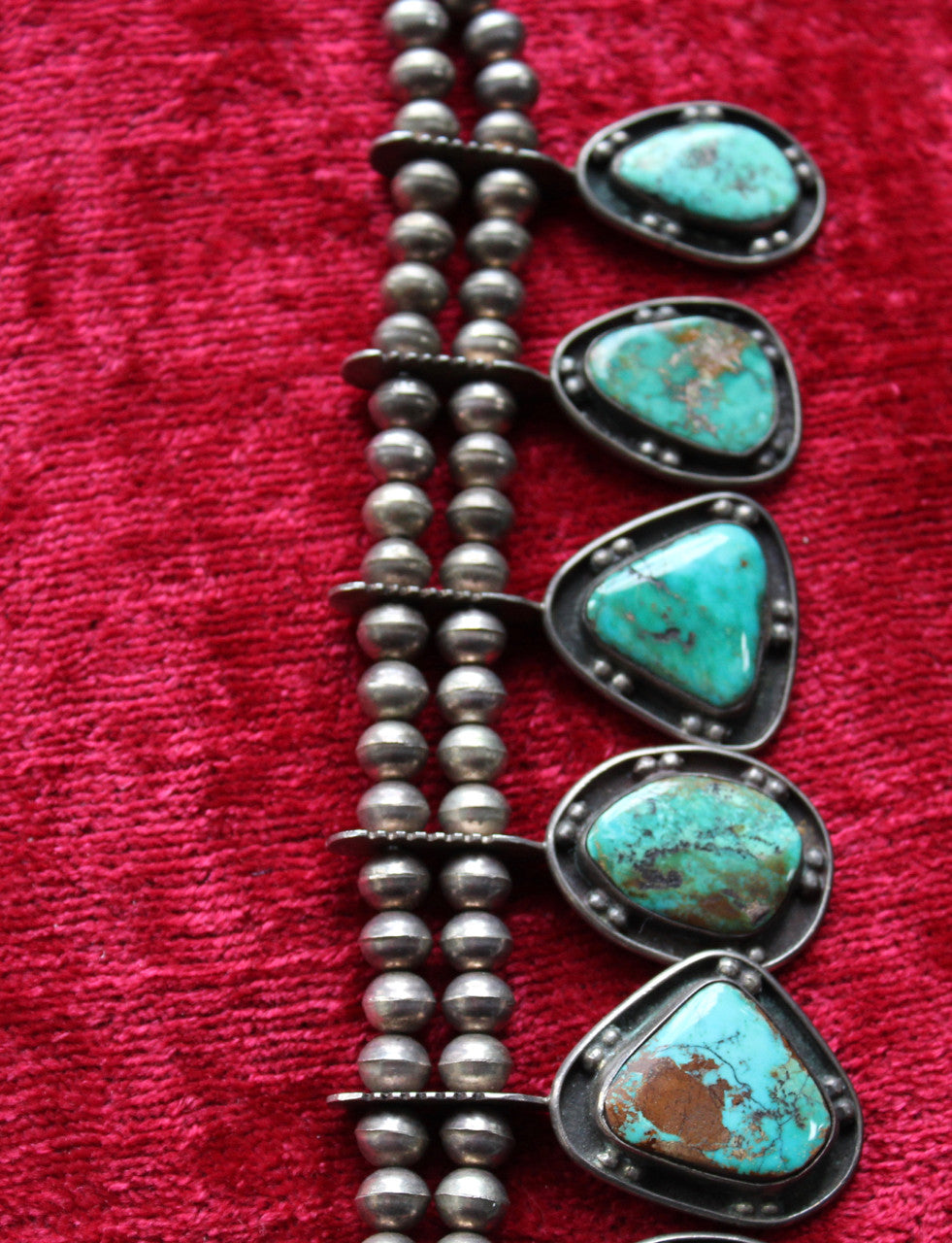 Vintage 50's Navajo Turquoise And Silver Squash Blossom Necklace Jewelry