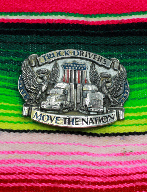 Vintage 1987 Truck Drivers Move The Nation Belt Buckle Mac Truck Eagle American Flag