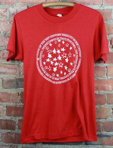 Vintage 80's Deadstock Red Thriller Graphic T Shirt - Large
