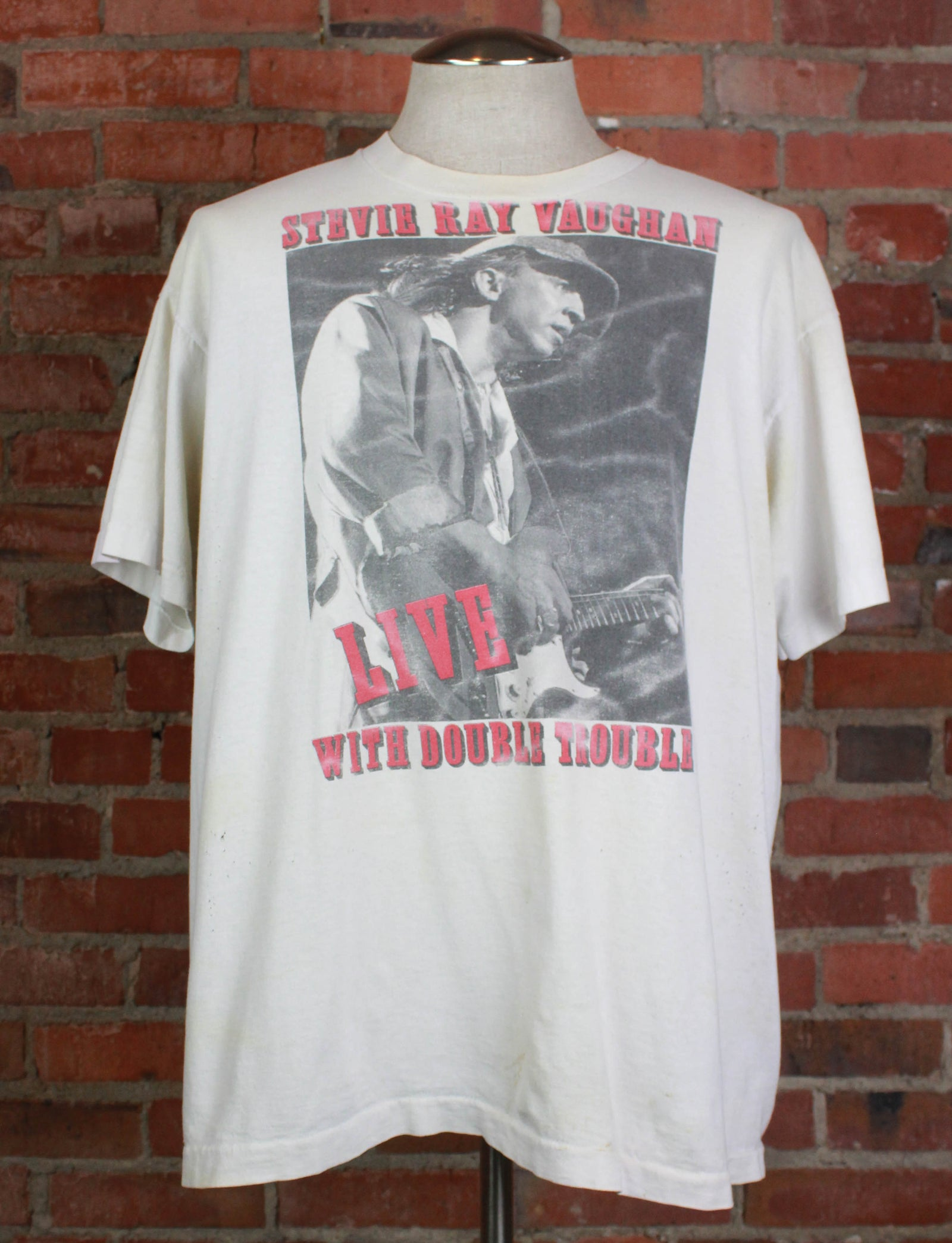 Vintage 1989 Stevie Ray Vaughan Concert T Shirt Double Trouble North American Tour White Unisex XL