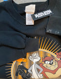 Vintage 1995 Looney Tunes Graphic Sweatshirt Huntertown Indiana Crew Neck Pullover Black Unisex XL