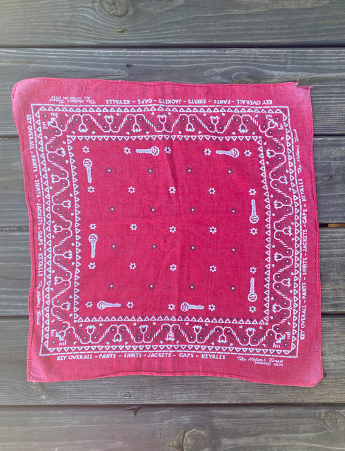Vintage 40's Key Work Clothes Red Selvedge Bandana