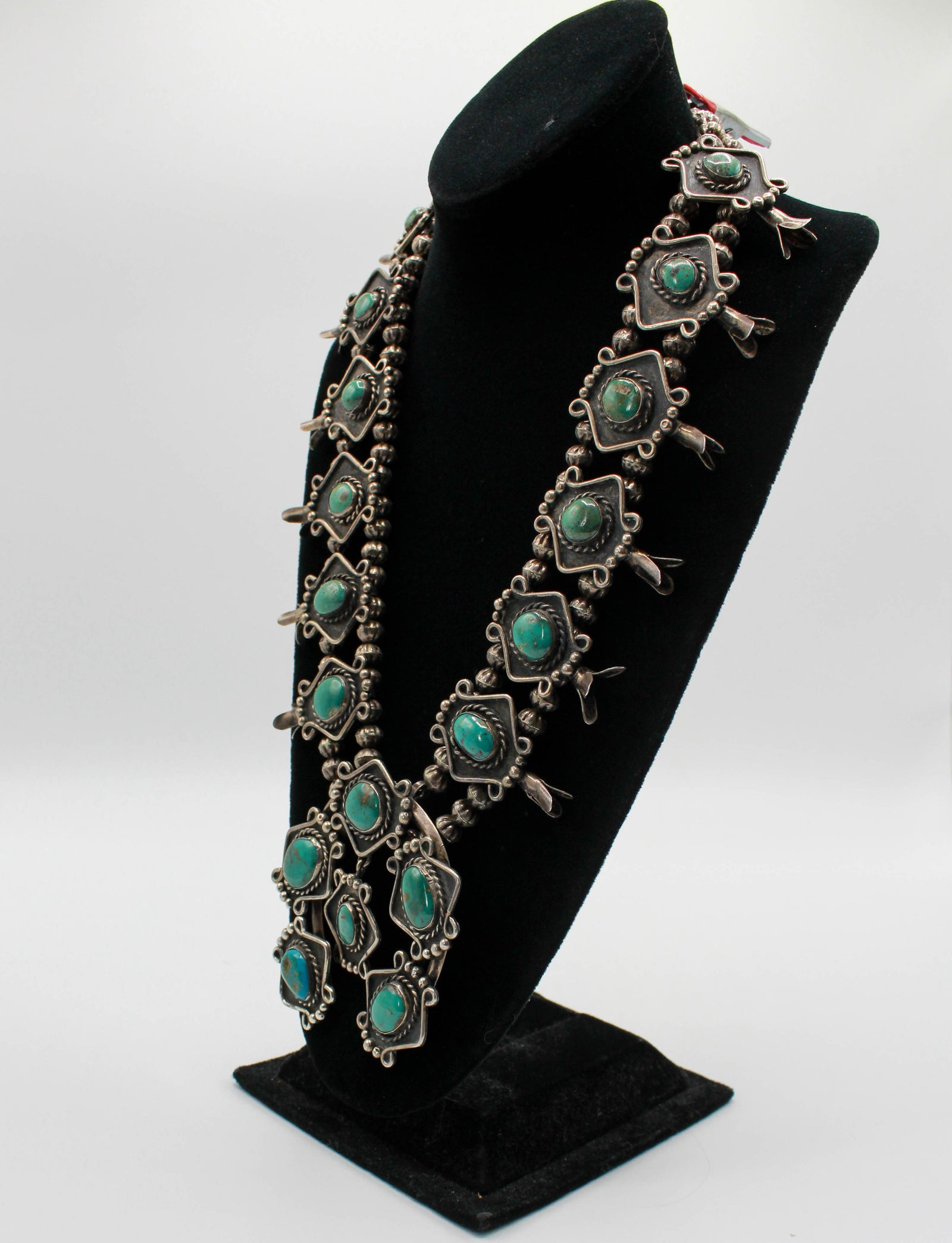 Vintage 40's Navajo Squash Blossom Necklace King's Manassa Turquoise Sterling Silver