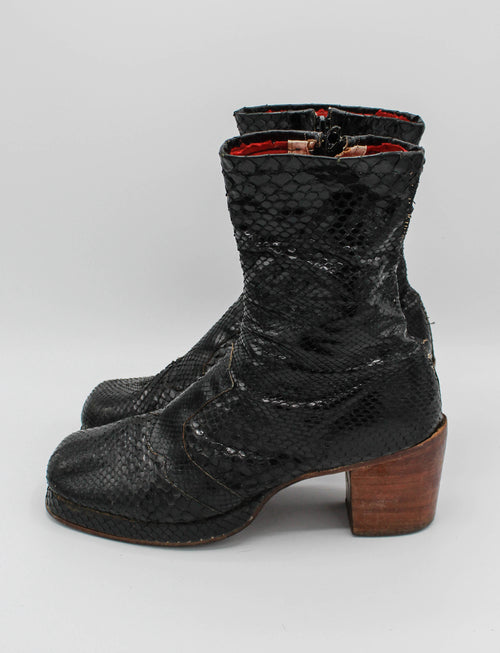 Vintage Late 60's Early 70's Granny Takes A Trip Black Snakeskin Platform Boots - M8.5/W10.5