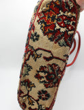 Vintage 60's Floral Carpet Bag Purse Red Leather Trim