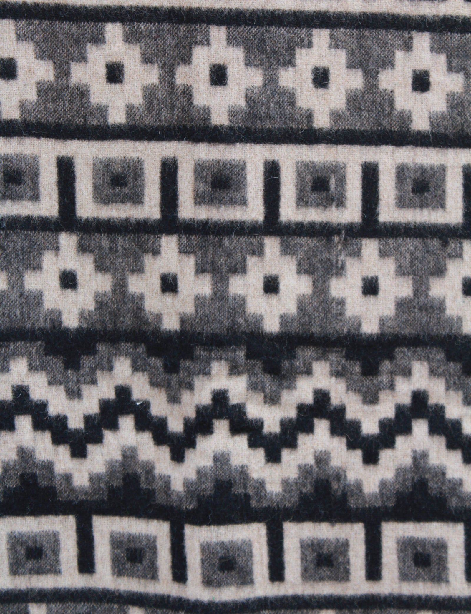 "Vintage 60's Marangani Peruvian Alpaca Throw Blanket Grey Black Wool Aztec Print 67"" x 52"""