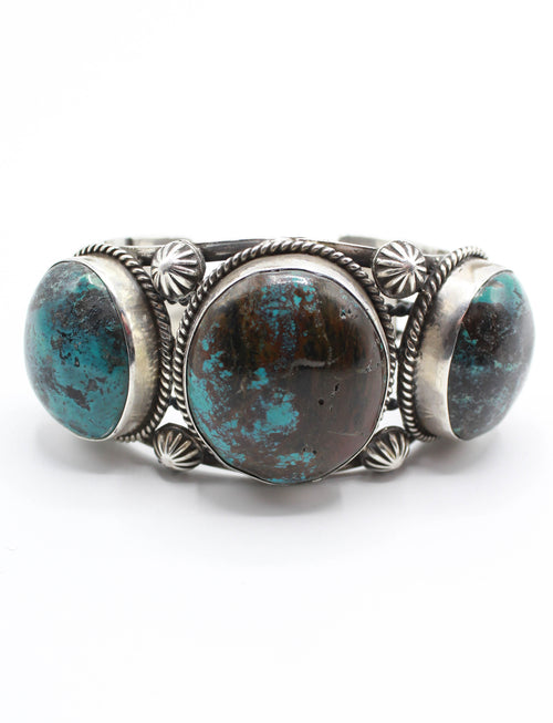 Vintage 70's Bisbee Blue Triple Stone Turquoise Cuff Sterling Silver Engraved