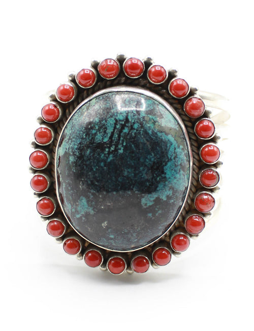 Vintage 70's Bisbee Blue Turquoise Cuff Coral Sterling Silver Arizona