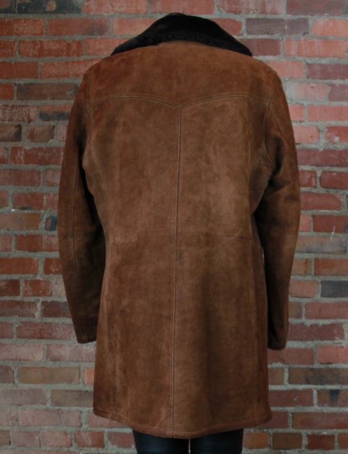 Vintage 70's Brown Suede Coat Jacket Faux Fur Lining Leather Unisex Large