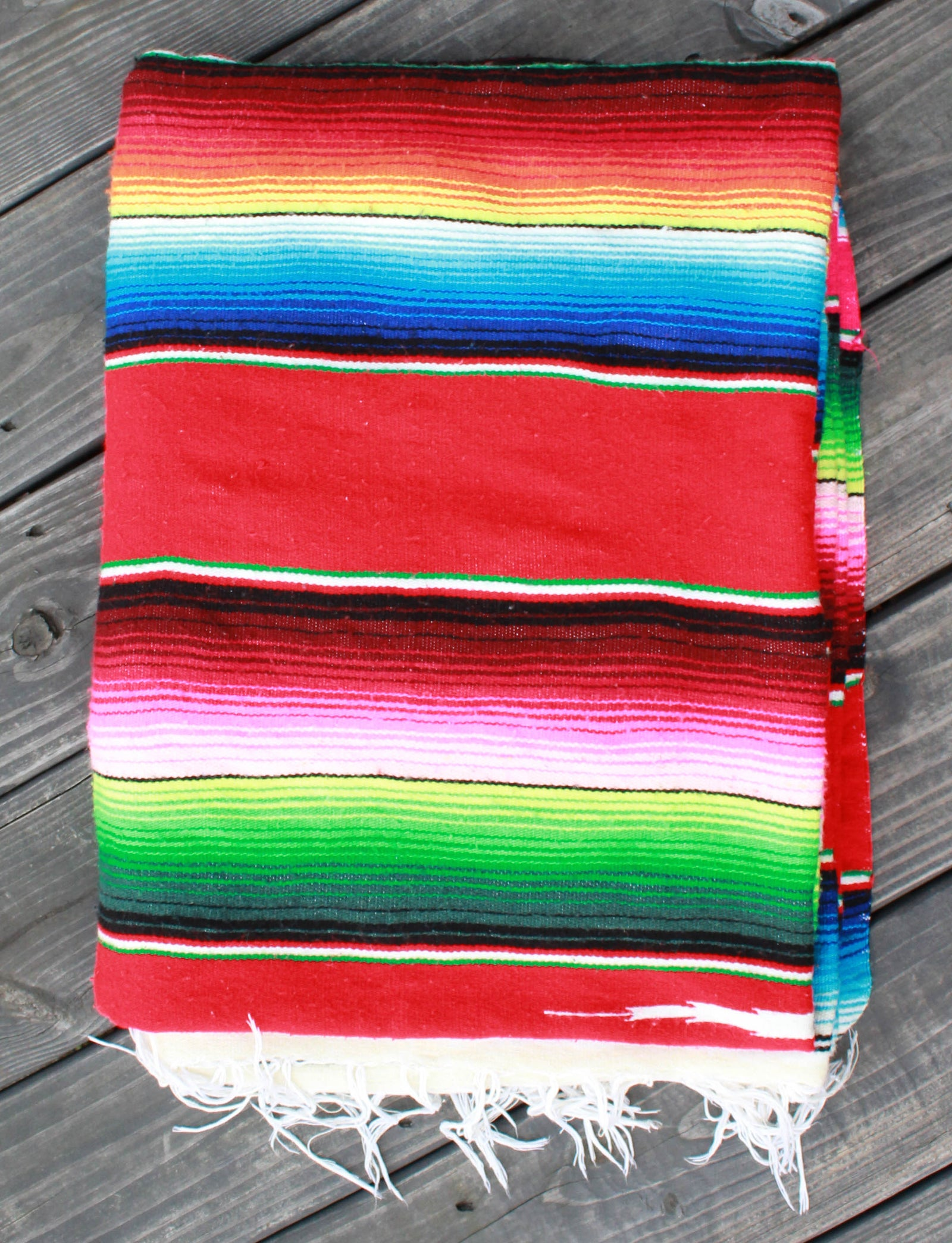 "Vintage 70's Rainbow Mexican Blanket Wool 82"" x 58"""