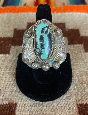 Vintage 70's Navajo Turquoise Cuff Bracelet Carico Lake Sterling Silver Stamped J&B Engraved Feather