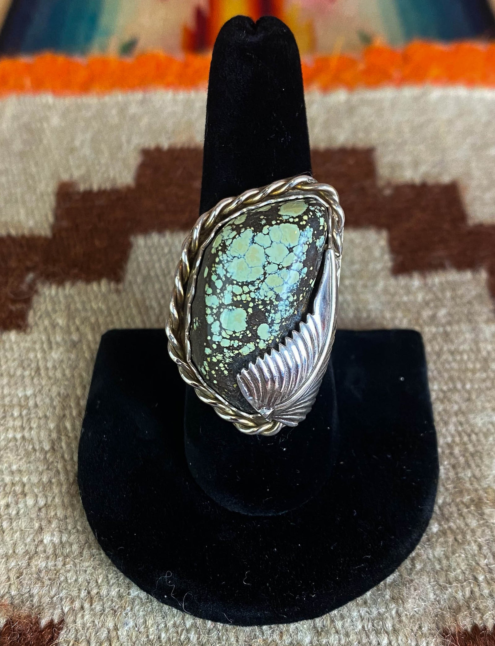 Vintage 70's Speckled Green Turquoise Ring Sterling Silver Engraved Feather Size 9