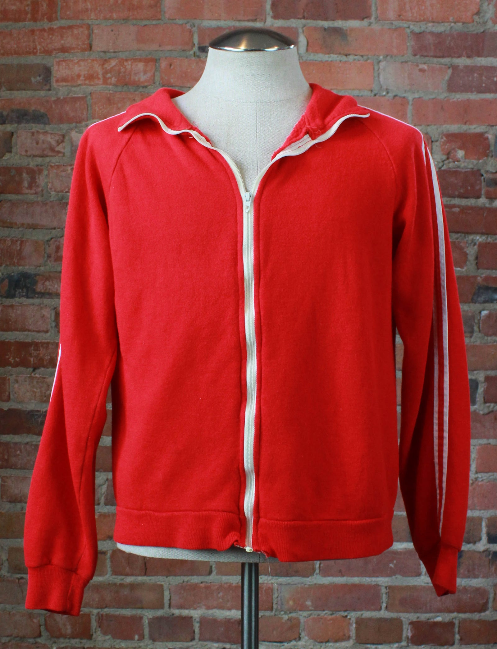 Vintage 70's Warm Up Sweatshirt Zip Up Striped Red White Unisex Medium/Large