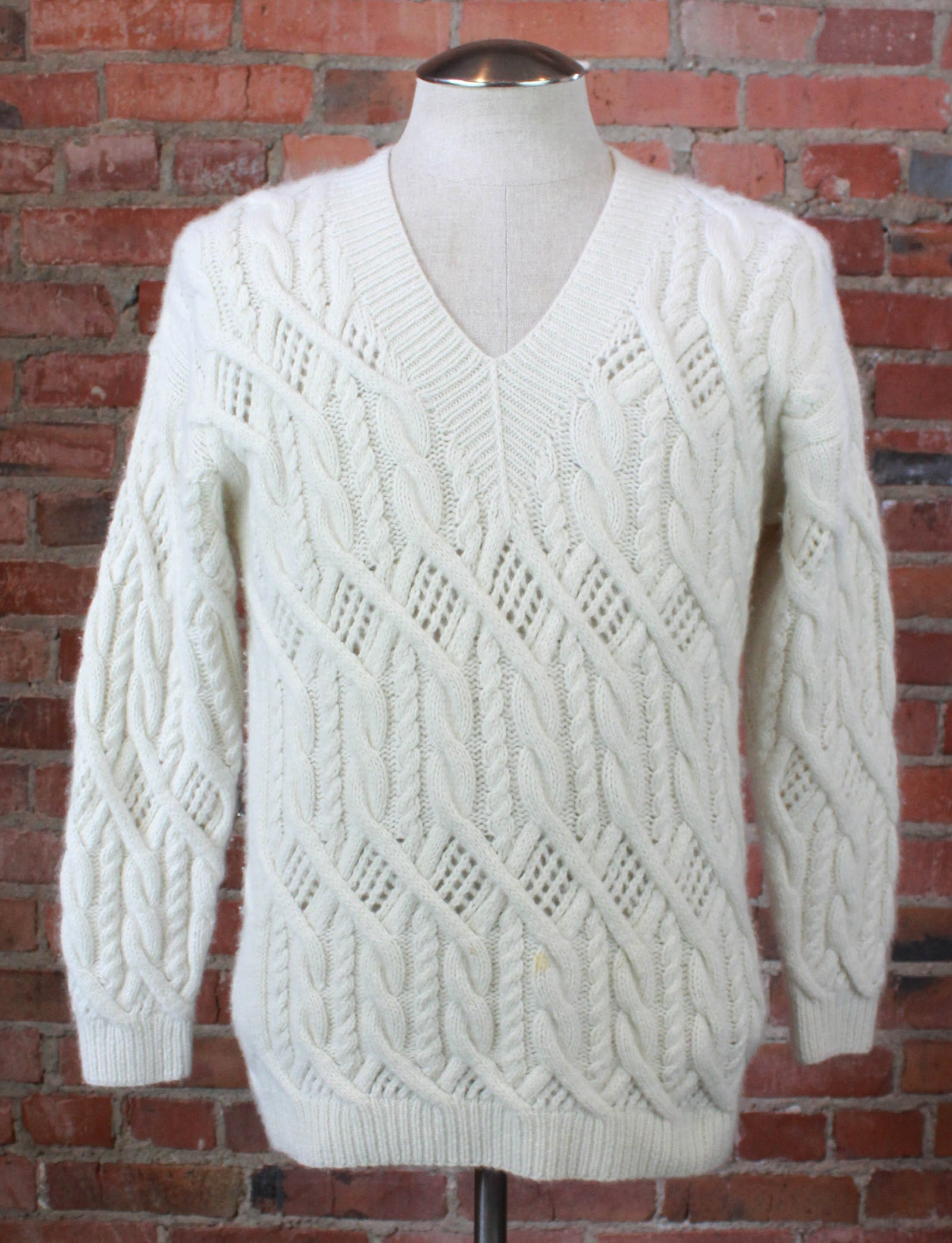 Vintage 80's/90's Neiman Marcus Cashmere Sweater Knit V Neck Pullover White Unisex Small/Medium