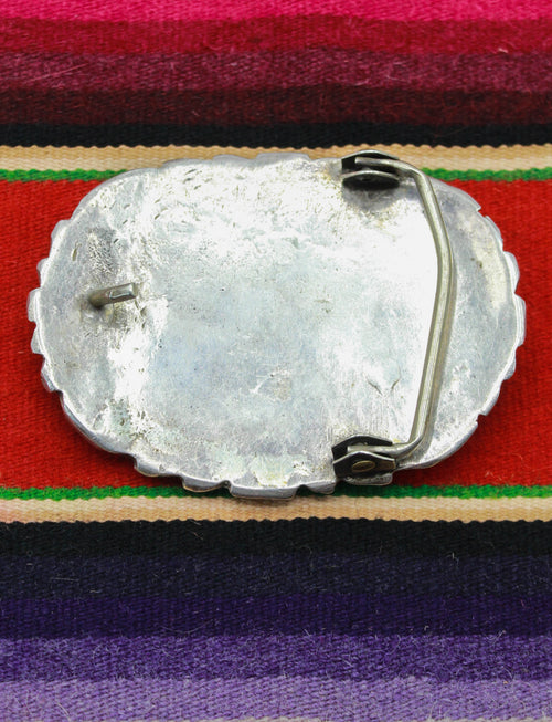"Vintage 80's Effie Calavaza Turquouse Belt Buckle Sterling Silver Coral Snake Feather Native American 3"" x 2"""