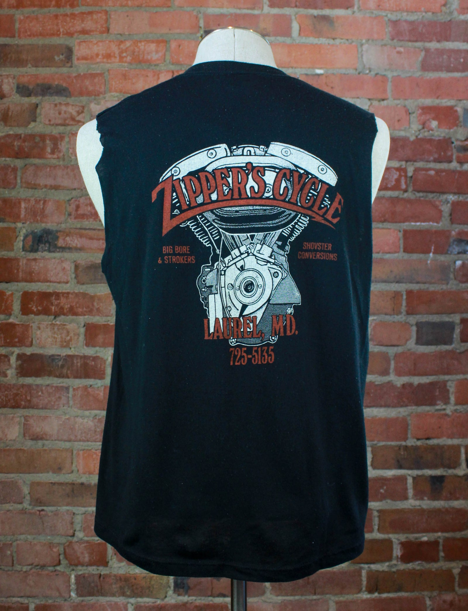 Vintage 80's Harley Davidson Graphic T Shirt Maryland Real Steel Bikers Only Cut Off Large