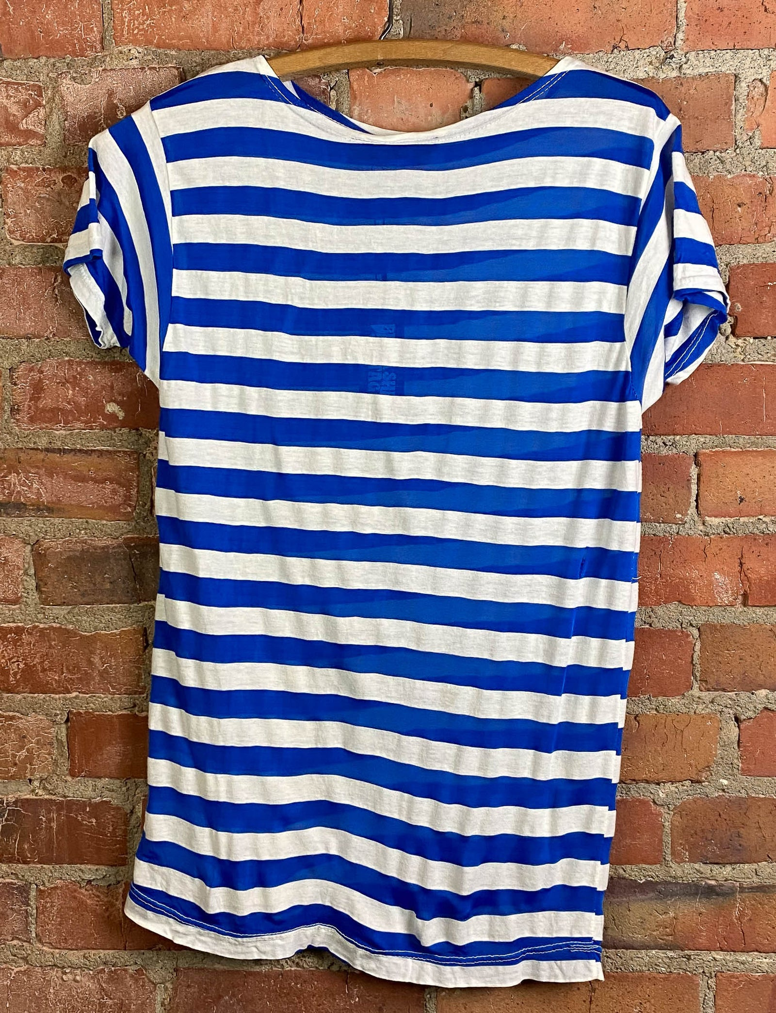 Vintage 80's Kennsington Blue Graphic T Shirt Rayon Striped White Blue Unisex Small