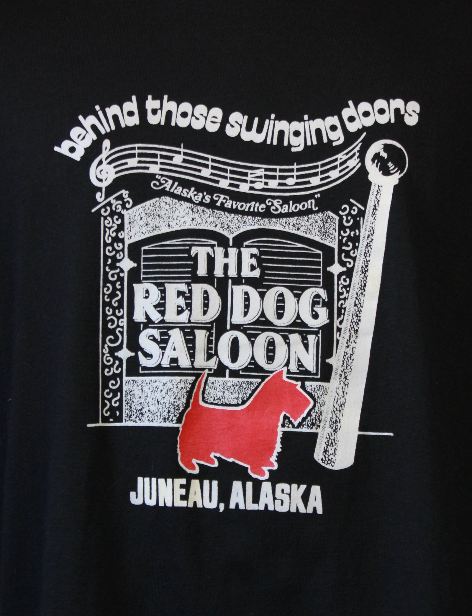 Vintage 80's Red Dog Saloon Graphic T Shirt Juneau Alaska Black Unisex Large
