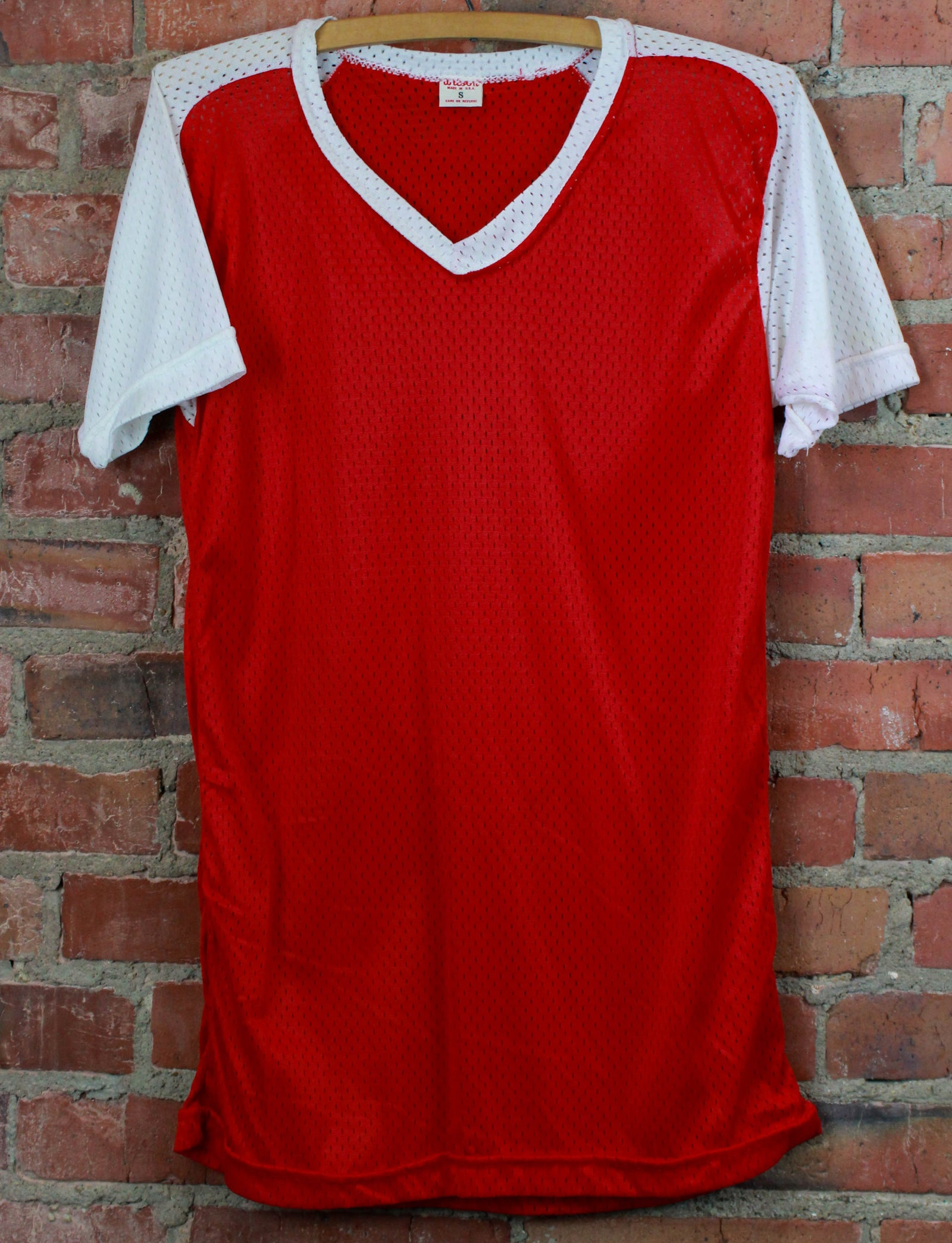 Vintage 80's Red/White Jersey T Shirt Mesh Dead-Stock Unisex Small