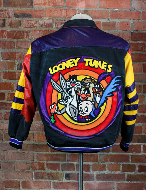 Vintage 1992 Looney Tunes Denim Jacket Leather Bomber Patch Unisex Small