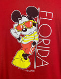 Vintage 90's Mickey Mouse Florida Graphic T Shirt Red Unisex Large