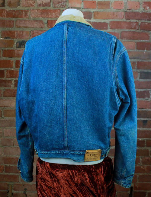 Vintage 90's Ralph Lauren Denim Jacket Dungaree Jean Plaid Blanket Lined Unisex Medium