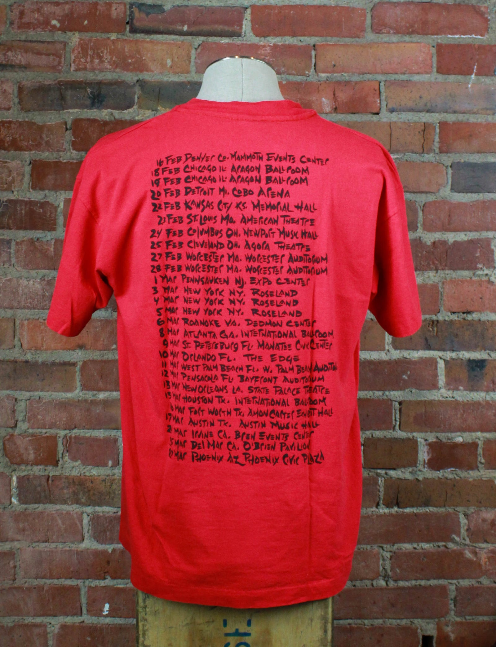 Vintage 90's Offspring Concert T Shirt North American Tour Red Unisex Extra Large