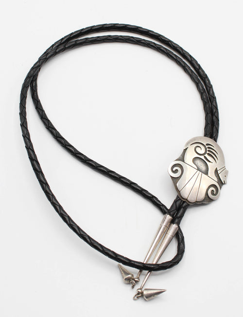 Vintage Hopi Overlay Fetish Bear Bolo Tie Augustine Mowa Jr. Sterling Silver Braided Leather Adjustable One Size