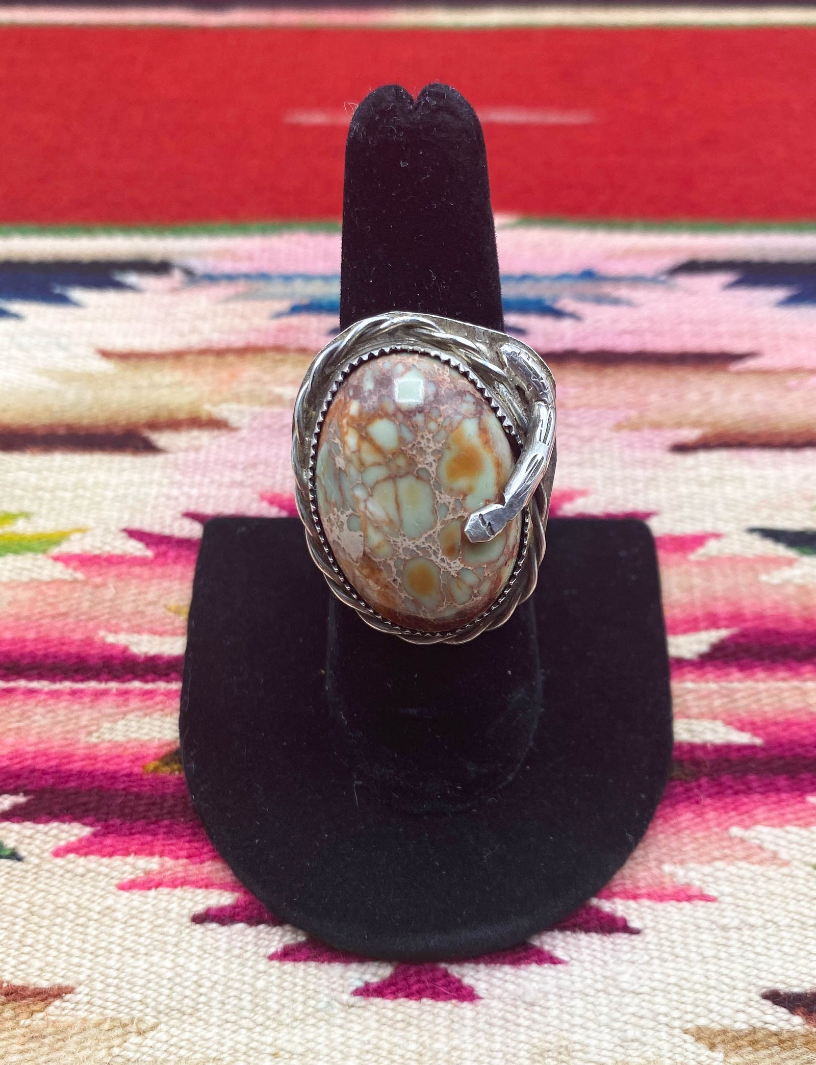 Vintage 70's Seafoam Green Turquoise Ring Sterling Silver Engraved Snake Unisex Size 7