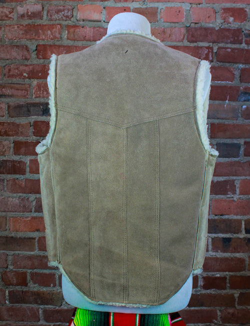 Vintage Steer Brand Sherpa Lined Vest Brown Suede Leather Wool Medium
