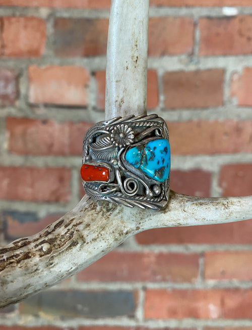 Vintage Sterling Silver Turquoise Coral Large Ring - 10 3/4