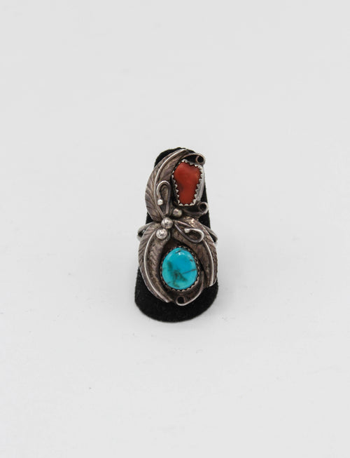 Vintage Sterling Silver Turquoise Red Coral Leaf Ring - 6 1/2