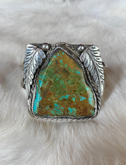 Vintage Sterling Silver Tyrone Turquoise Feather Cuff Bracelet