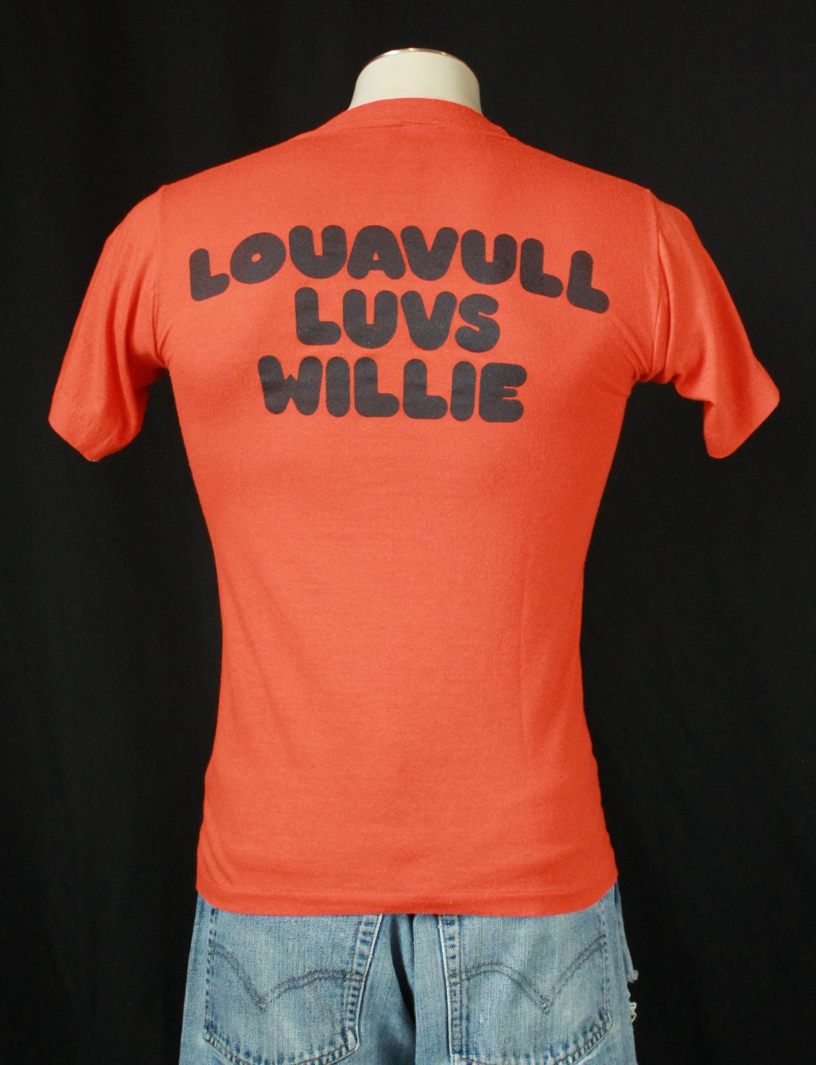Vintage Willie Nelson Concert T Shirt 80's Live Louavull Luvs Willie - Small