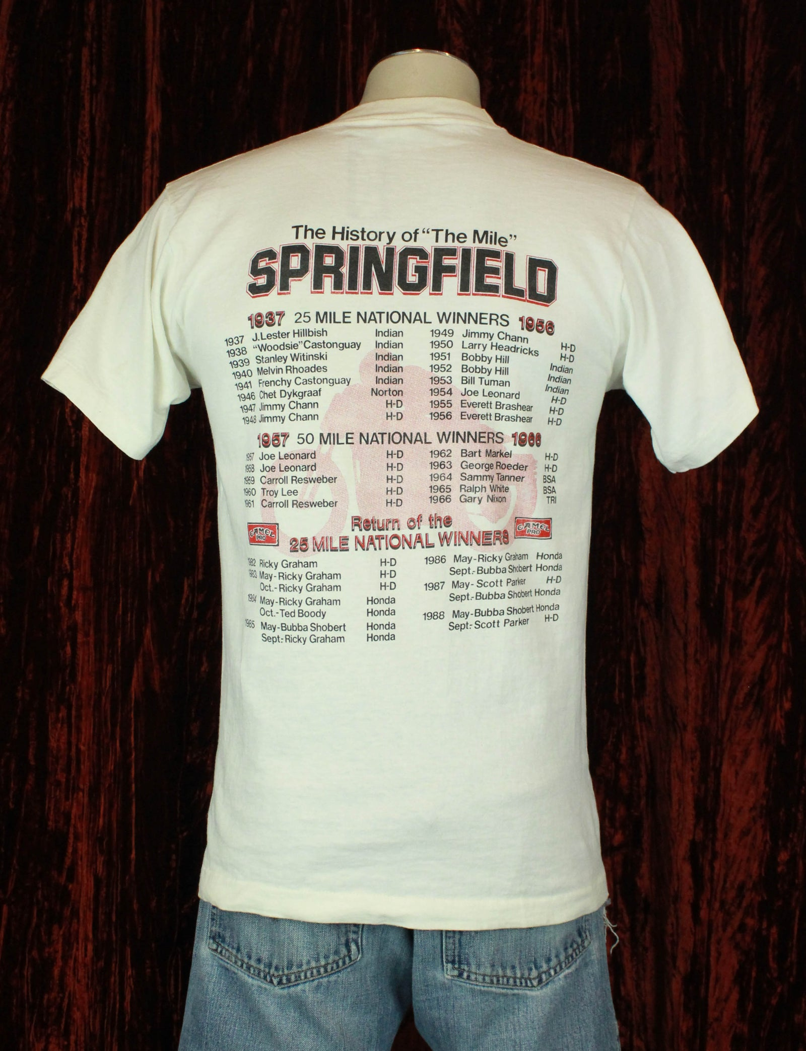 Vintage 1989 Springfield World's Fastest Mile Nationals Graphic T Shirt - Medium