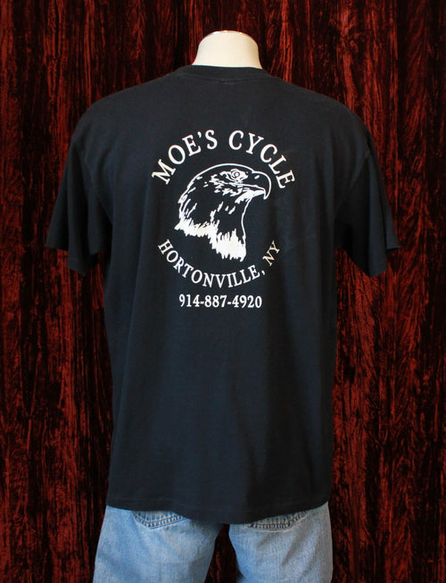 Vintage American Biker Graphic T Shirt 1993 Moe's Cycle - Unisex Extra Large
