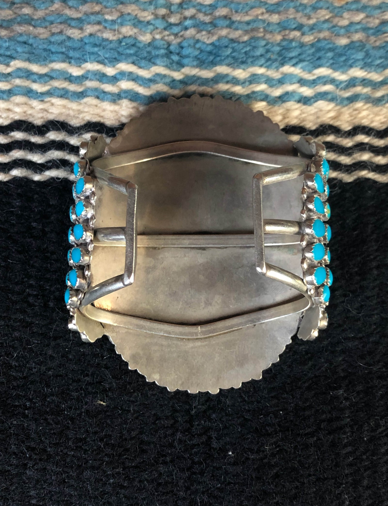 Vintage 40's Sterling Silver And Turquoise Large Cuff Bracelet