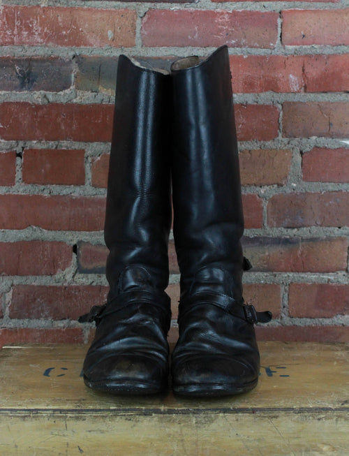 Vintage 1960's British Constable Black Leather Boots - Men's 8 / Women's 10