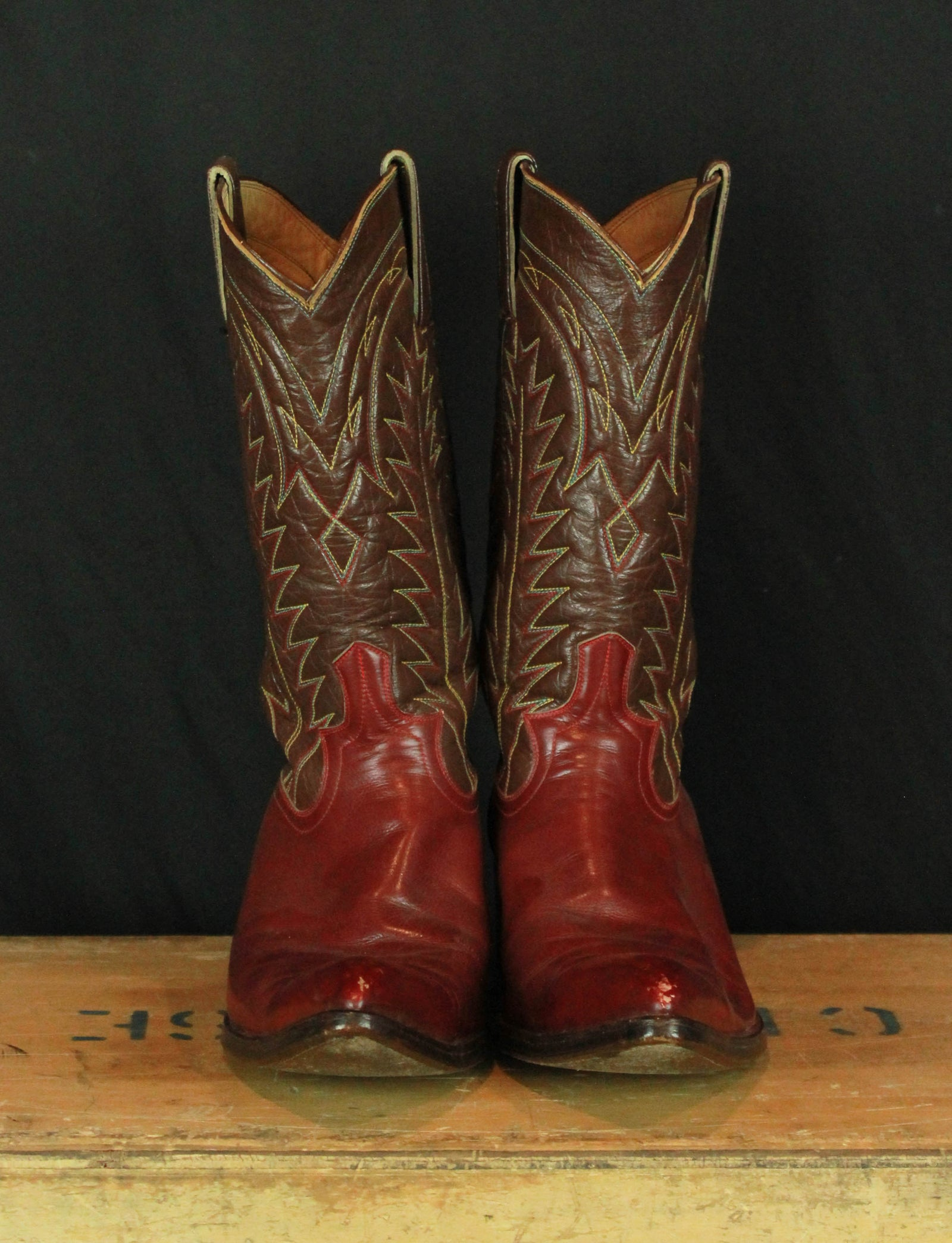 Vintage 60's Brown And Red Leather Cowboy Boots - Men's 8 / Women's 10