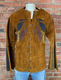 Vintage 70's East West Musical Instruments Brown Suede Medieval Shirt Jacket - Small