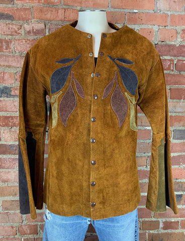 Women's Vintage 70's Brown Leather Jacket With Flower Design Size Extra Small