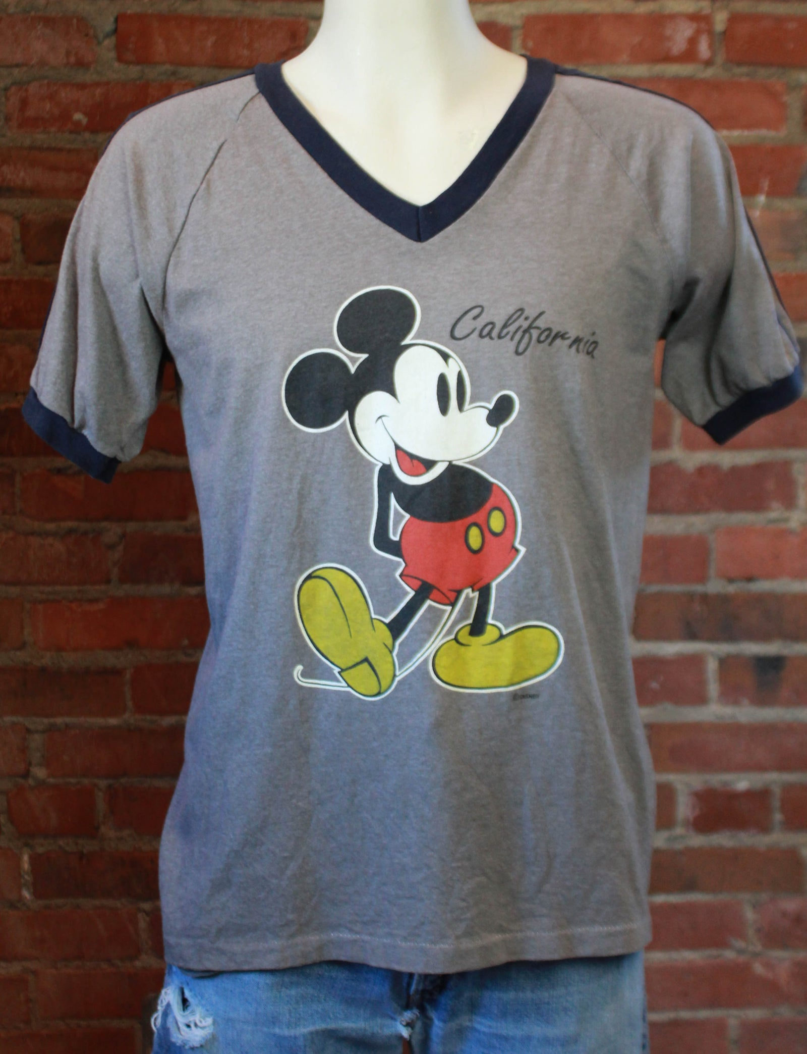 Vintage 70's Mickey Mouse Ringer T Shirt Disneyland California Unisex Large