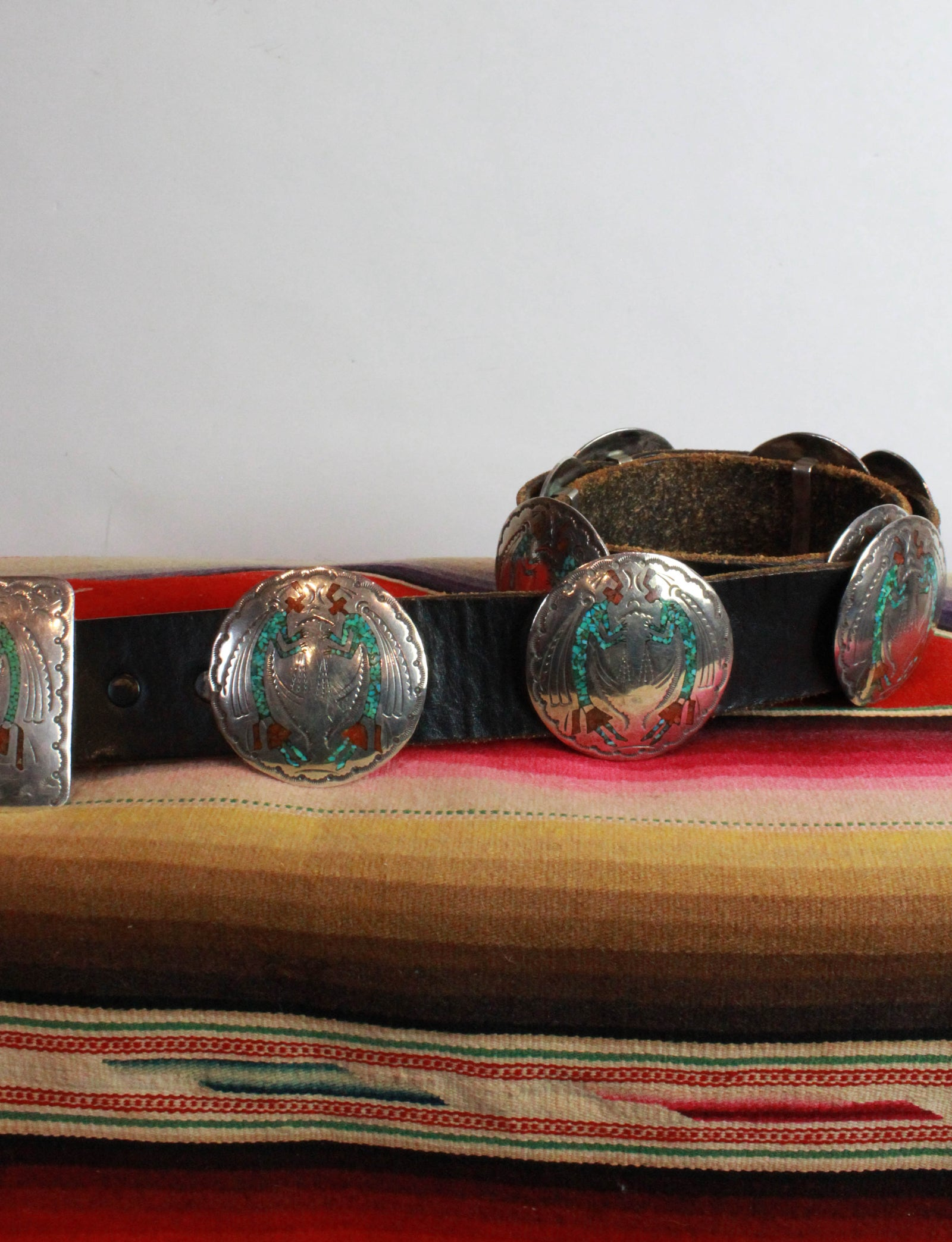 Vintage 70's Navajo Concho Belt Handstamped Sterling Silver, Turquoise, And Coral