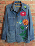 Vintage 70's Sears Denim Chore Coat Custom Chain Stitched by Ranger Stitch And Inspired By Gram Parson's Nudie Suit Unisex Medium