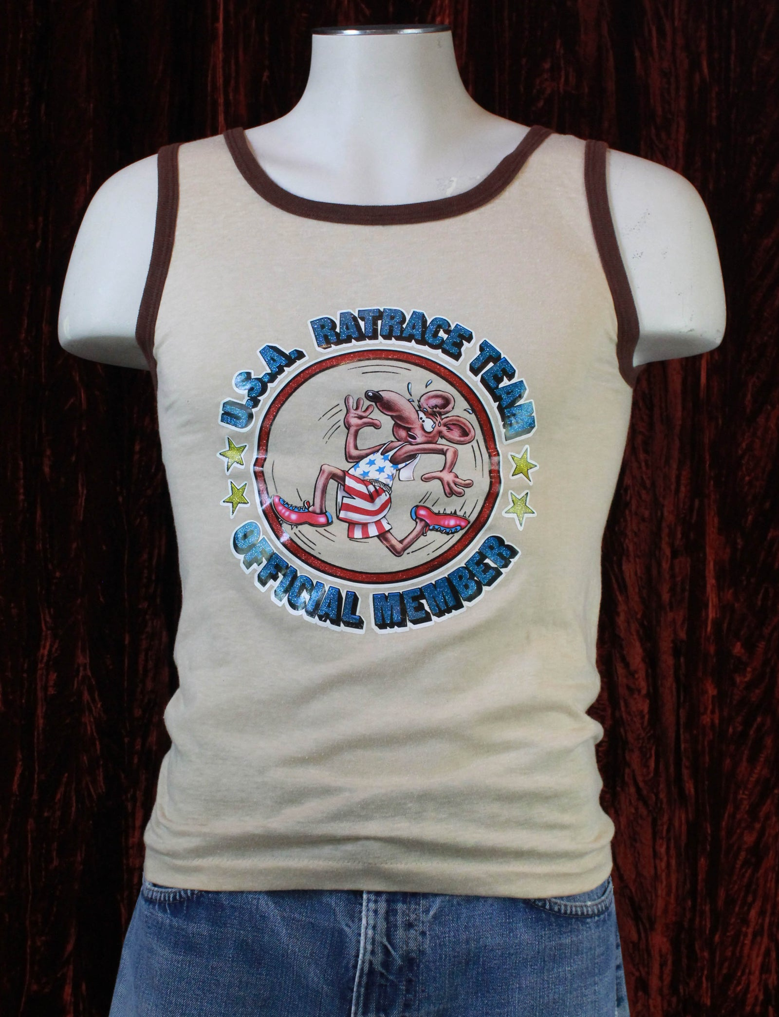 Vintage USA Ratrace Team Graphic Tank Top - Small