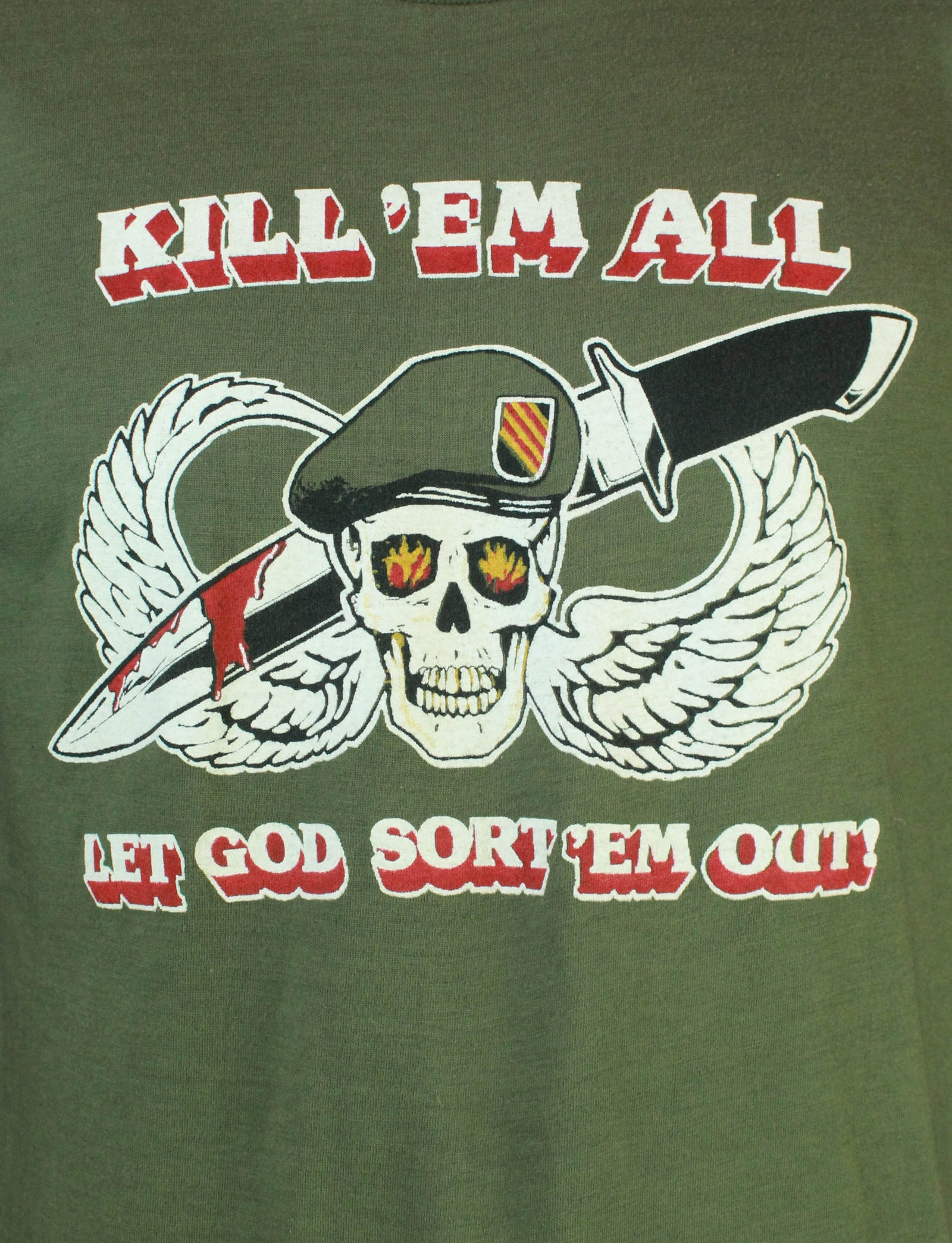 Vintage 80's Kill 'Em All Let God Sort 'Em Out Graphic T Shirt - Large