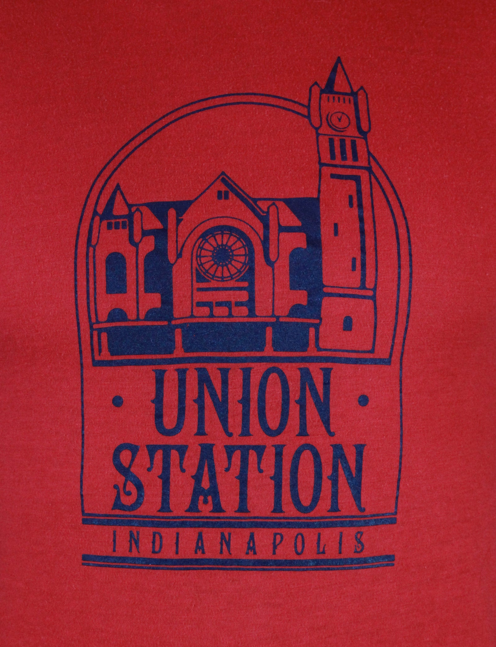 Vintage 80's Union Station Indianapolis Red Muscle Graphic T Shirt - Small