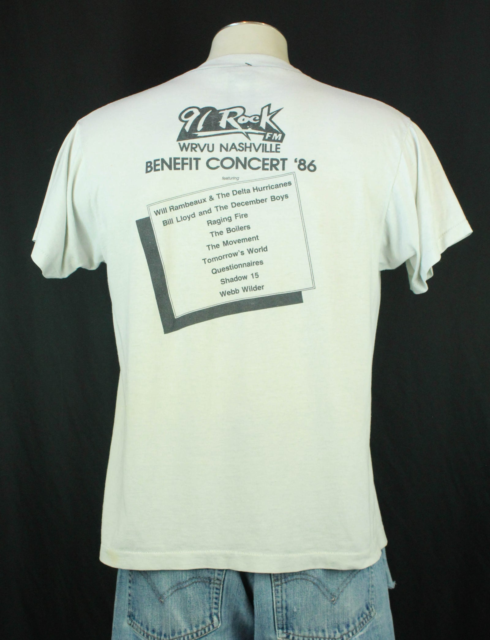 Vintage 91 Rock FM WRVU Nashville Graphic T Shirt 1986 Benefit - Large