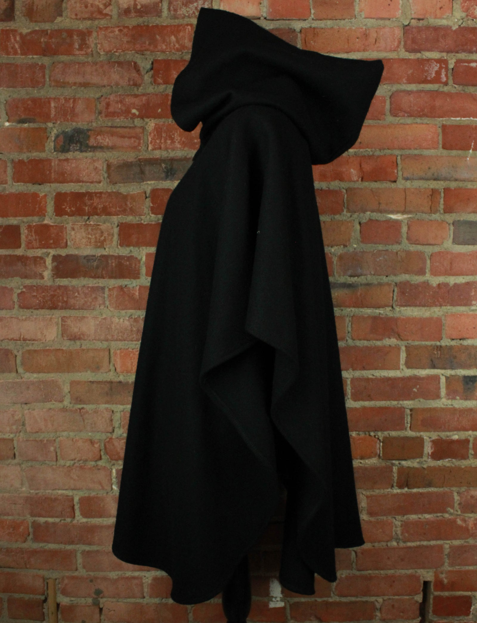 Vintage Black Hooded Wool Poncho
