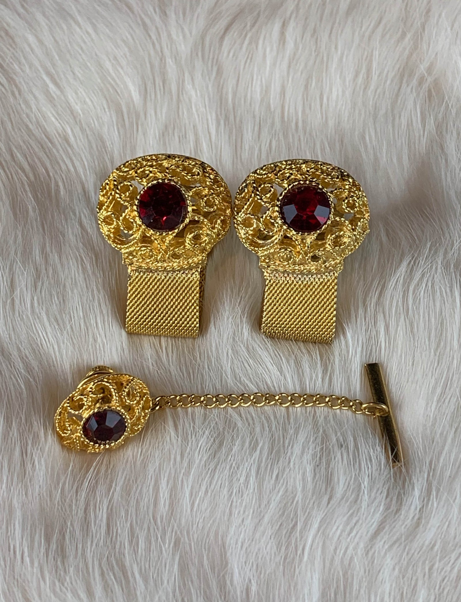 Vintage Gold Jeweled Cuff Link Set